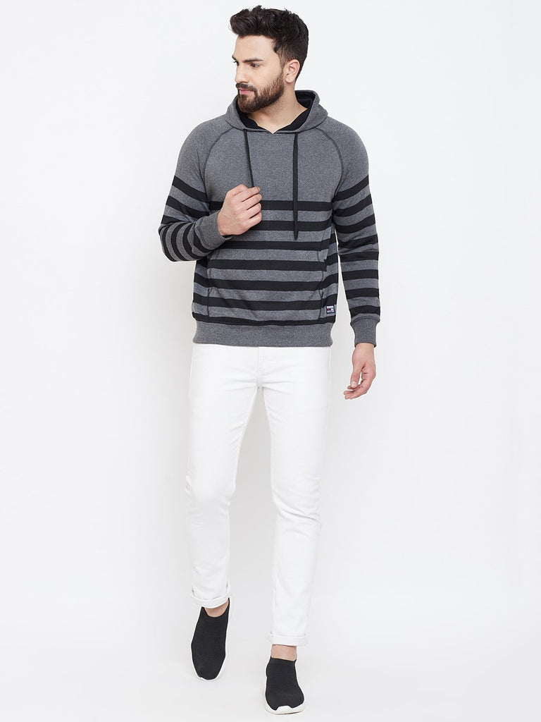 Men's Charcoal Striper Hooded Sweatshirt