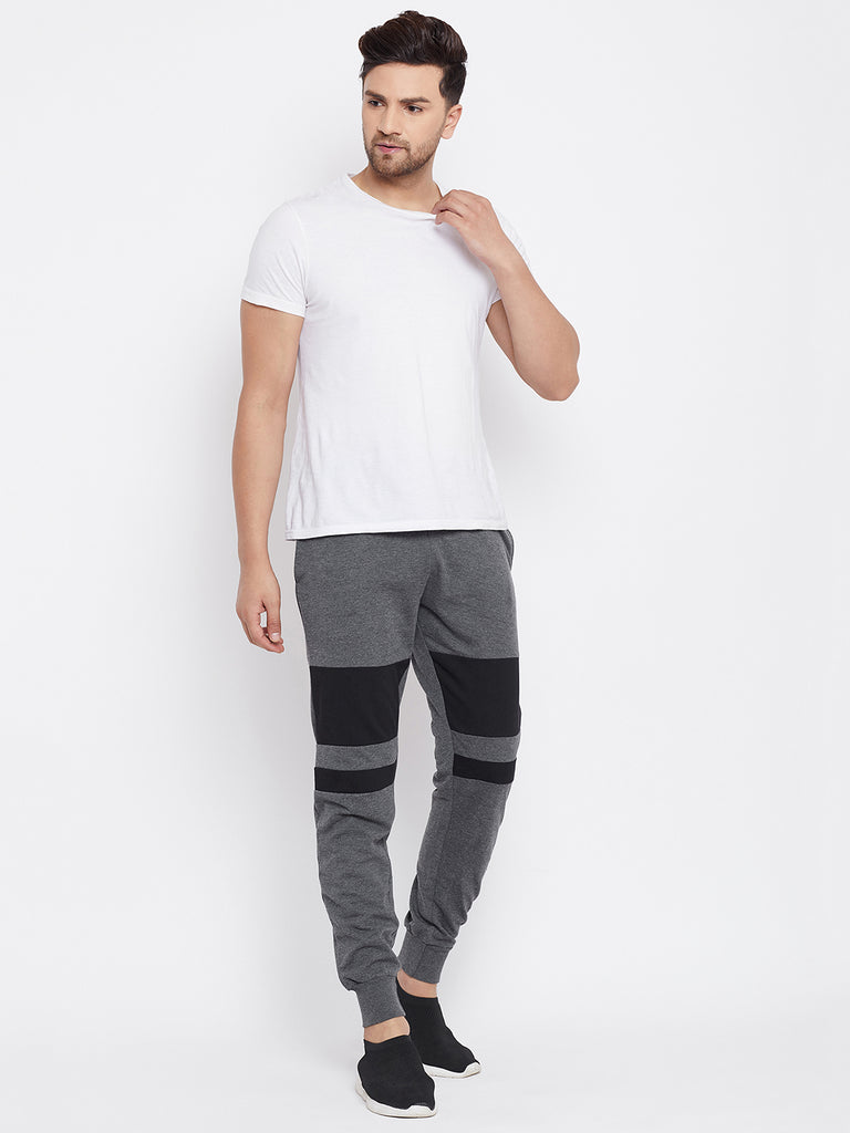 Austin Wood Men's Charcoal Colorblocked Slim Fit Trackpant