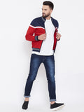 Men's Red Colorblocked High Neck Sweatshirt