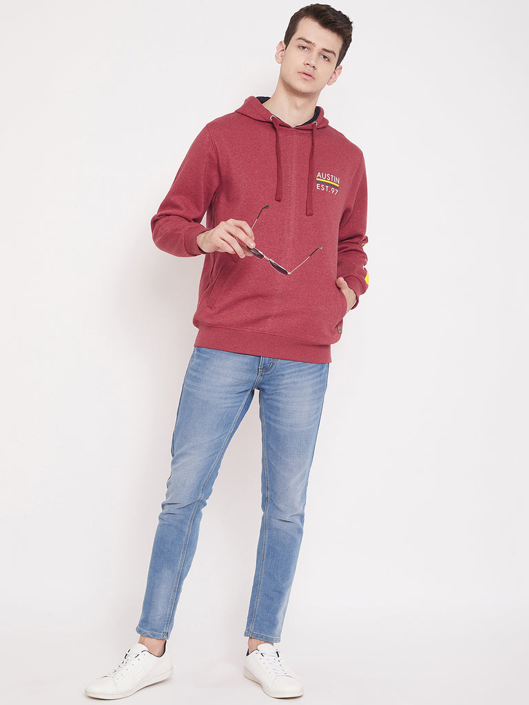 Austin Wood Men's Red Full Sleeves Hooded Solid Sweatshirt