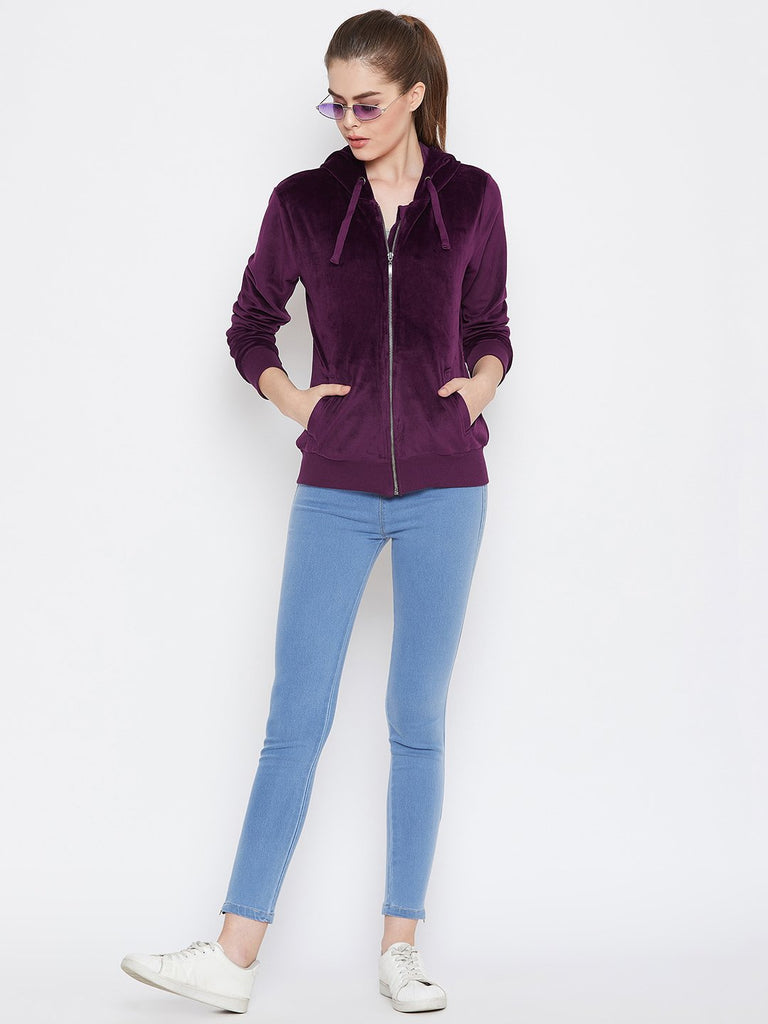 Women's Maroon Solid Long Sleeves Hooded Sweatshirt