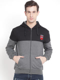 Men's Charcoal Colorblocked Hooded Sweatshirt