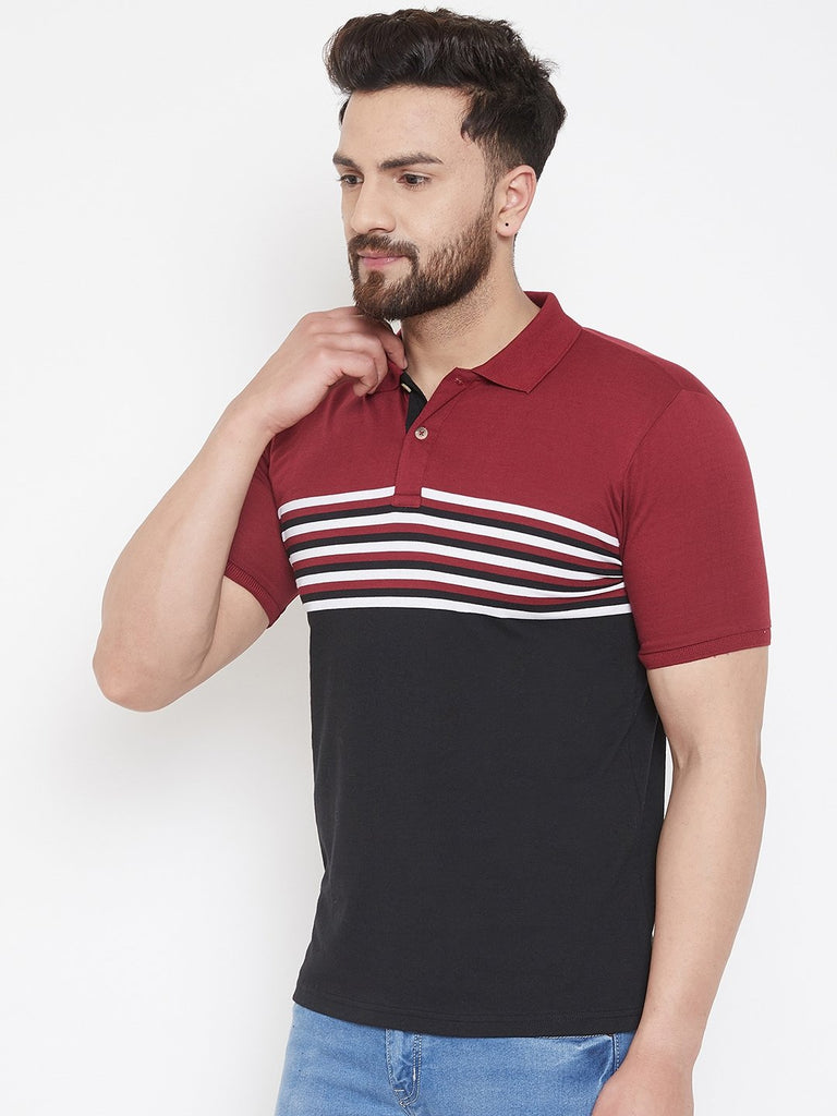 Black Striper Polo T-shirt