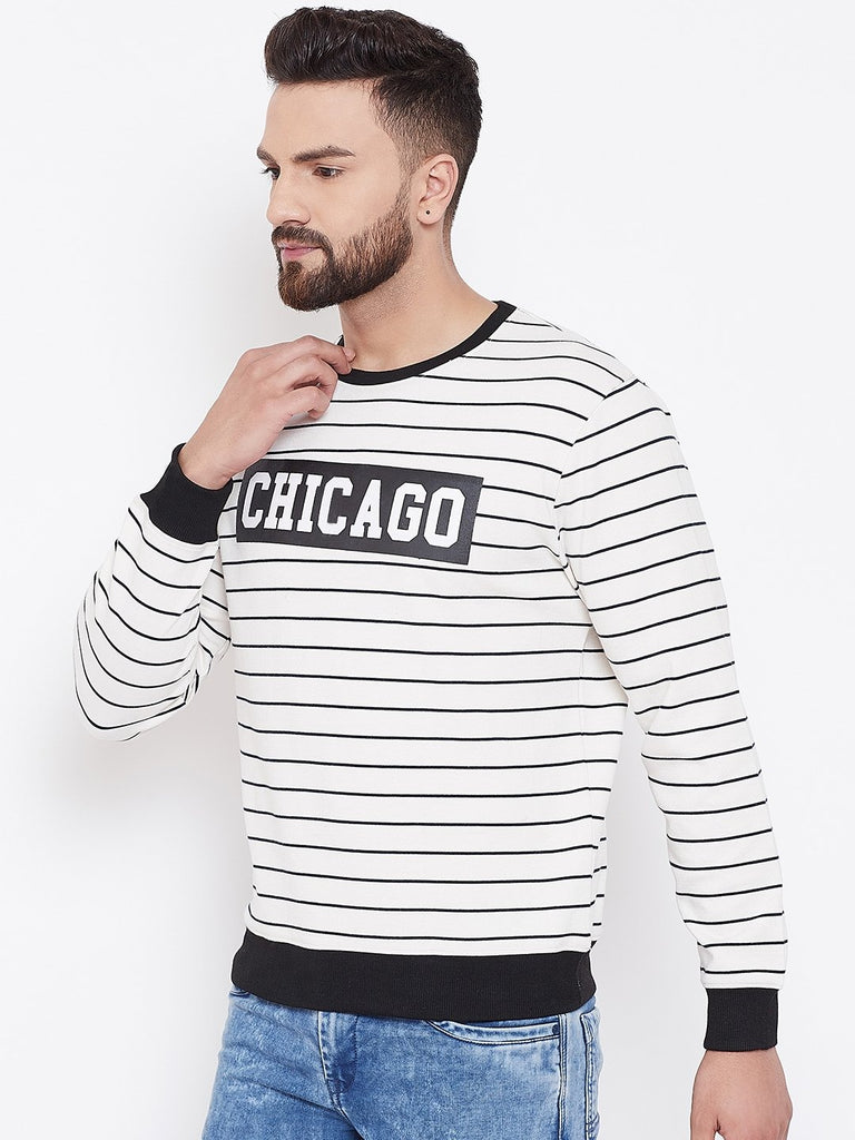 Men's White Striper Round Neck Sweatshirt