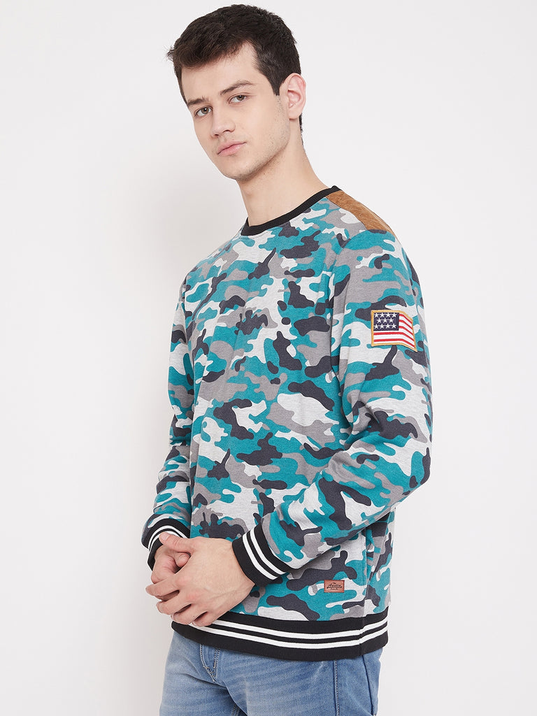 Austin Wood Men's Multi Full Sleeves Round Neck Printed Sweatshirt