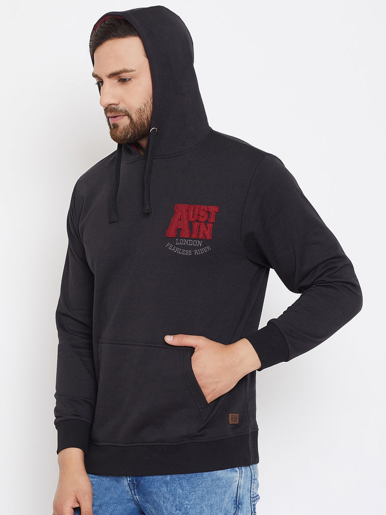Austin Wood Men's Black Full Sleeves Solid Hooded Sweatshirt