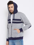 Austin Wood Men's Grey Full Sleeves Hooded Sweatshirt With Zipper