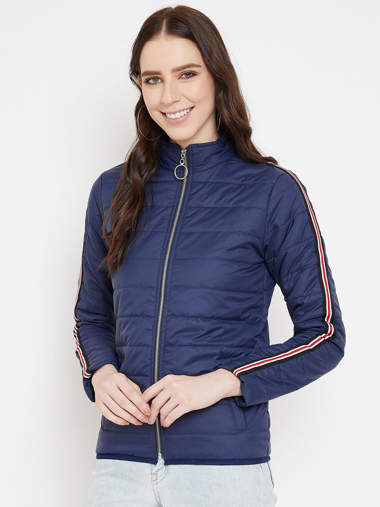 Austin Wood Women's Navy Blue Solid Full Sleeves High Neck Padded Jacket With Size Tape