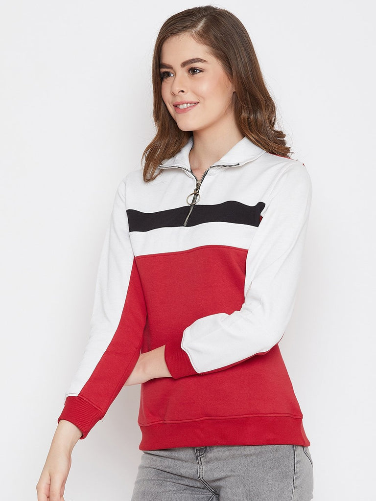 Women's Red Colorblocked Long Sleeves High Neck Sweatshirt