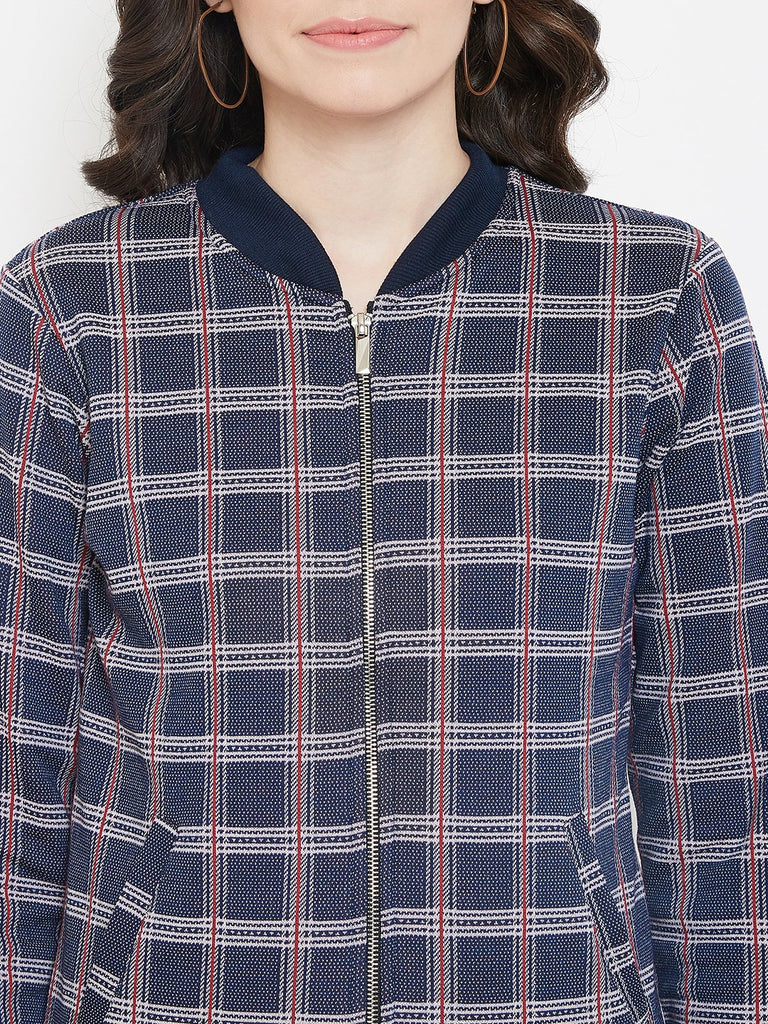 Austin Wood Women's Navy Blue Full Sleeves Checked Bomber Neck Sweatshirt With Zipper