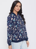 Austin Wood Women's Navy Blue Full Sleeves Printed Mandarin Collar Sweatshirt