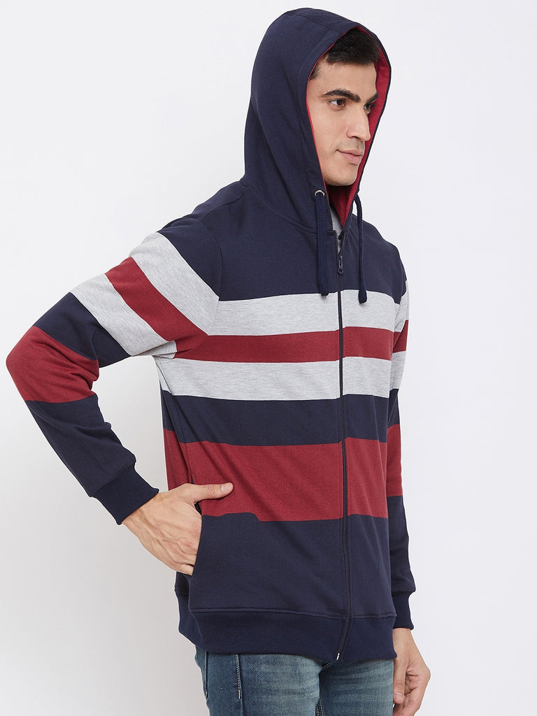 Austin Wood Men's Multi Full Sleeves Striper Hooded Sweatshirt