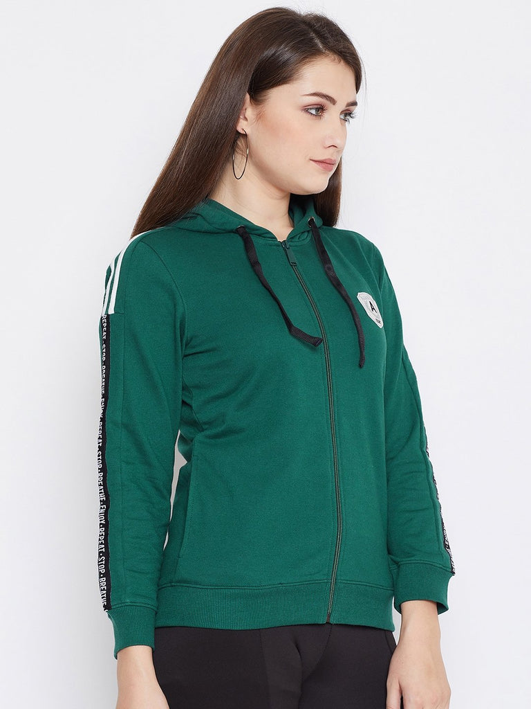Women's Green Solid Long Sleeves Hooded Sweatshirt