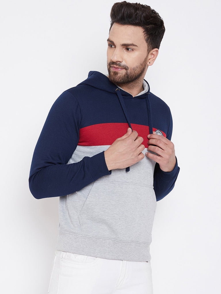 Men's Grey Colorblocked Hooded Sweatshirt