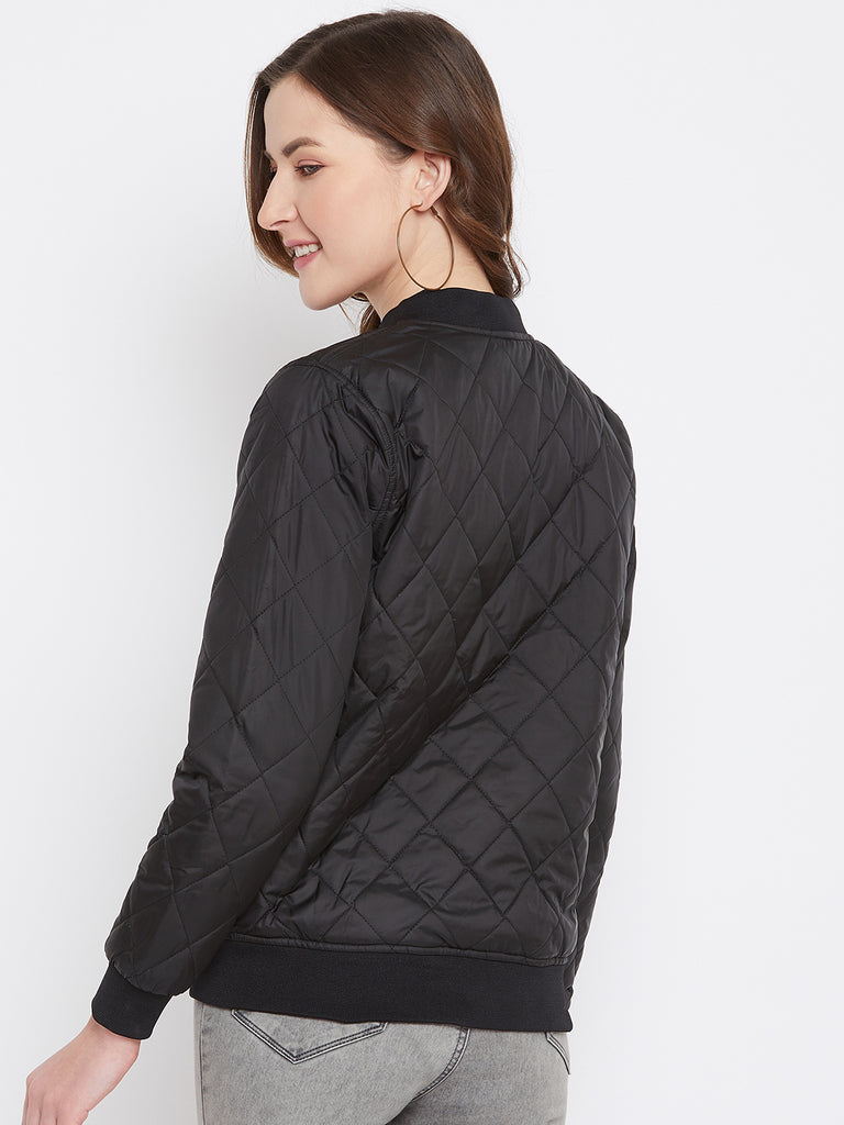 Austin Wood Women's Black Solid Full Sleeves Bomber Neck Padded Jacket With Size Tape