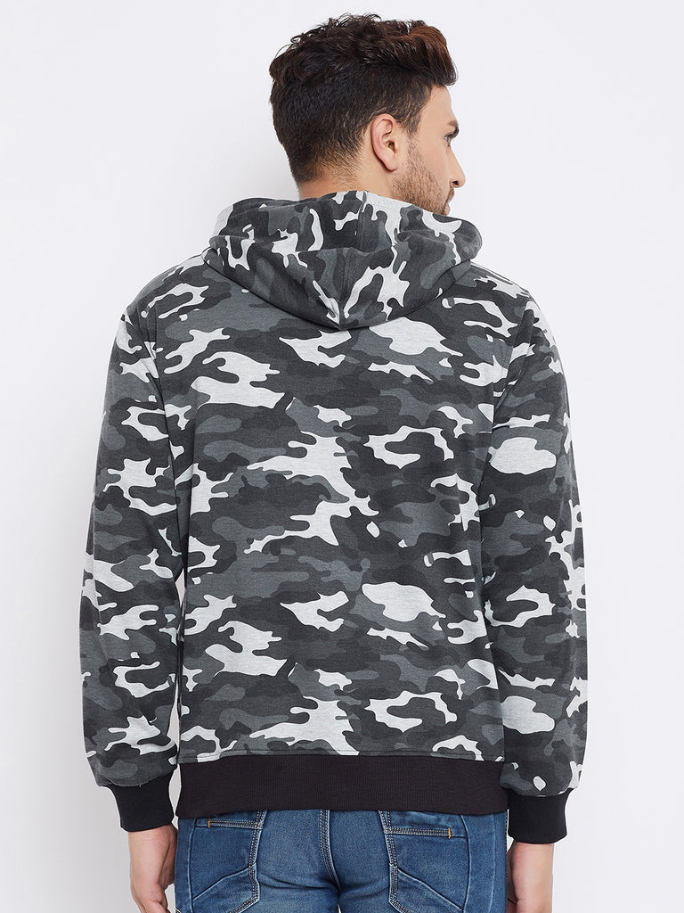 Austin Wood Men's Grey Full Sleeves Camo Print Hoodie Sweatshirt