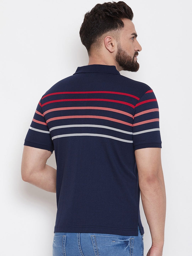 Navy Stripers Polo T-shirt