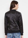 Austin Wood Women's Black Solid Full Sleeves Bomber Neck Jacket With Size Tape