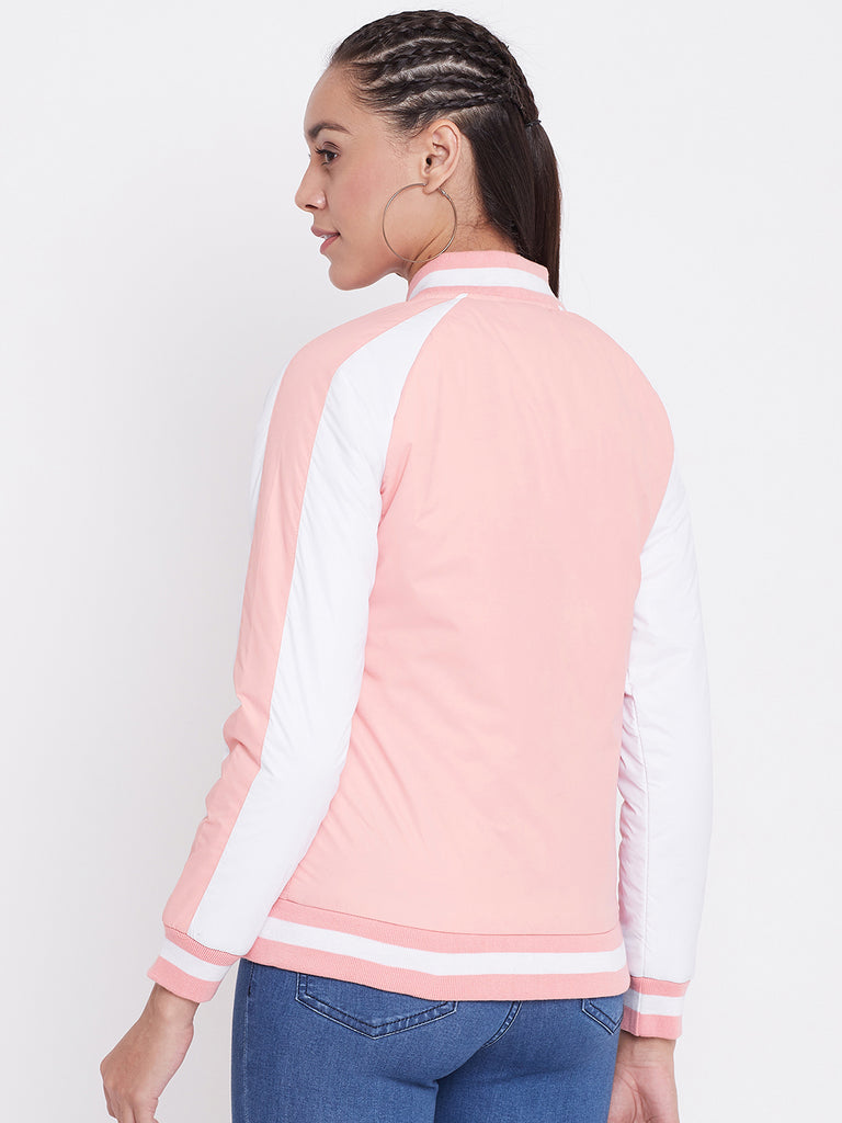 Austin Wood Women's Peach. Solid Bomber Neck Zipper Jacket