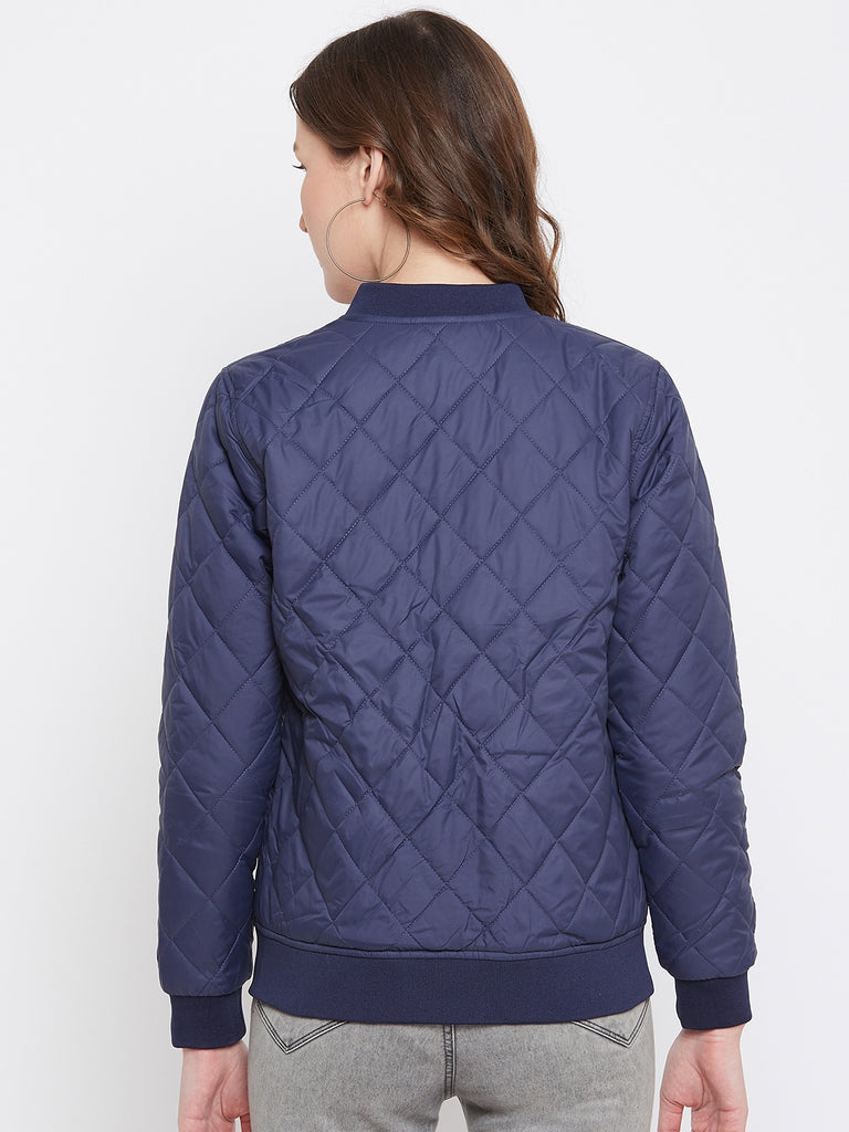 Austin Wood Women's Navy Blue Solid Full Sleeves Bomber Neck Padded Jacket With Size Tape