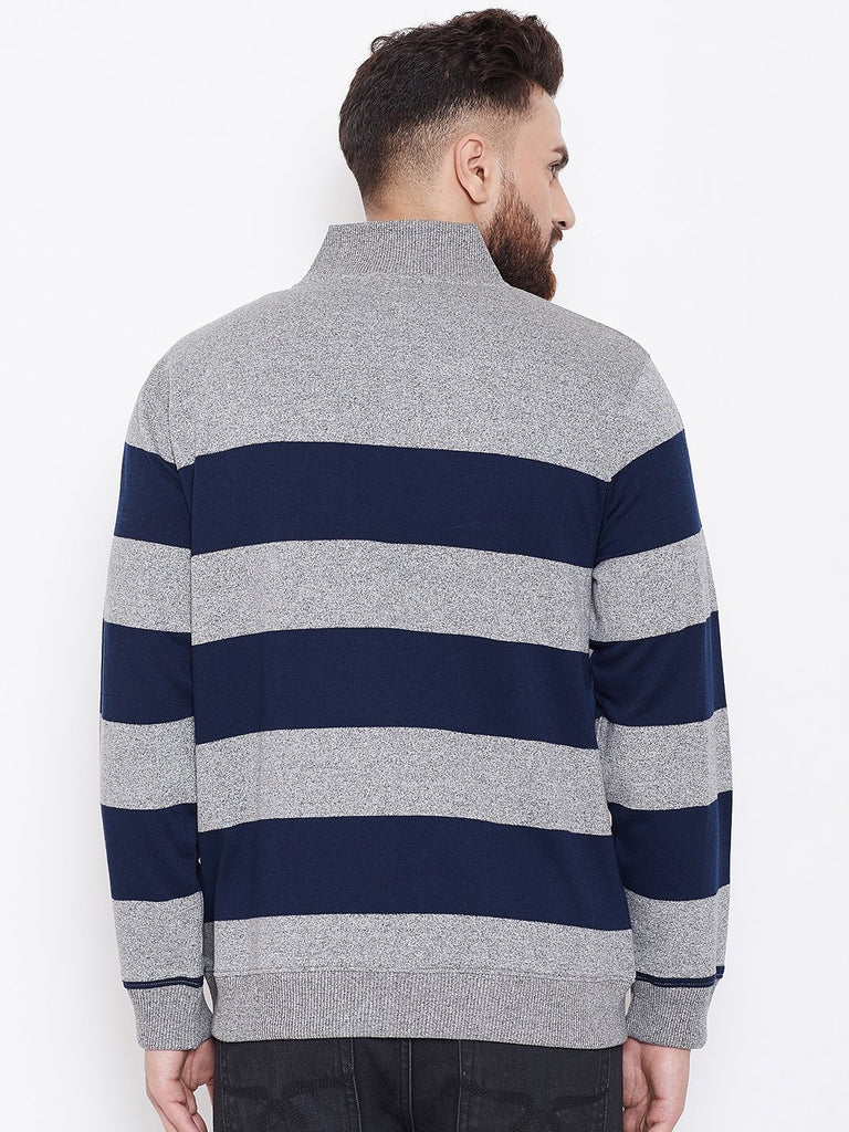 Men's Grey Striper High Neck Sweatshirt