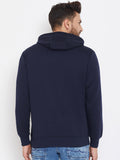Austin Wood Men's Navy Blue Full Sleeves Solid Hooded Sweatshirt
