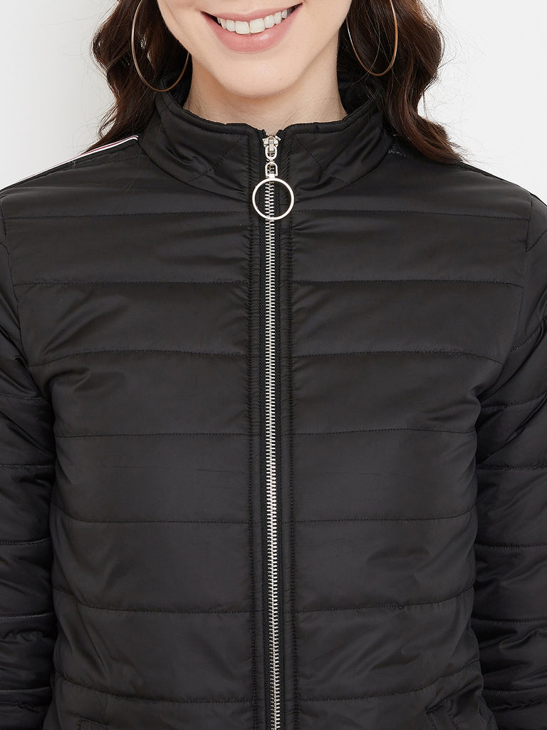 Austin Wood Women's Black Solid Full Sleeves High Neck Padded Jacket With Size Tape