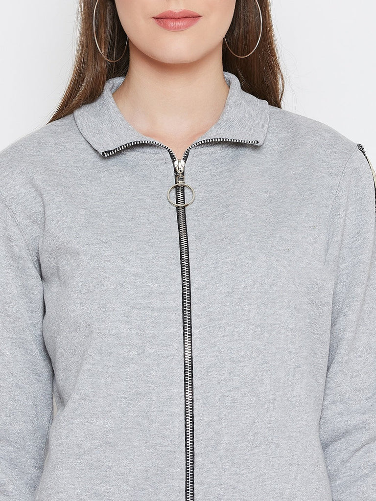 Women's Grey Solid Long Sleeves High Neck Sweatshirt