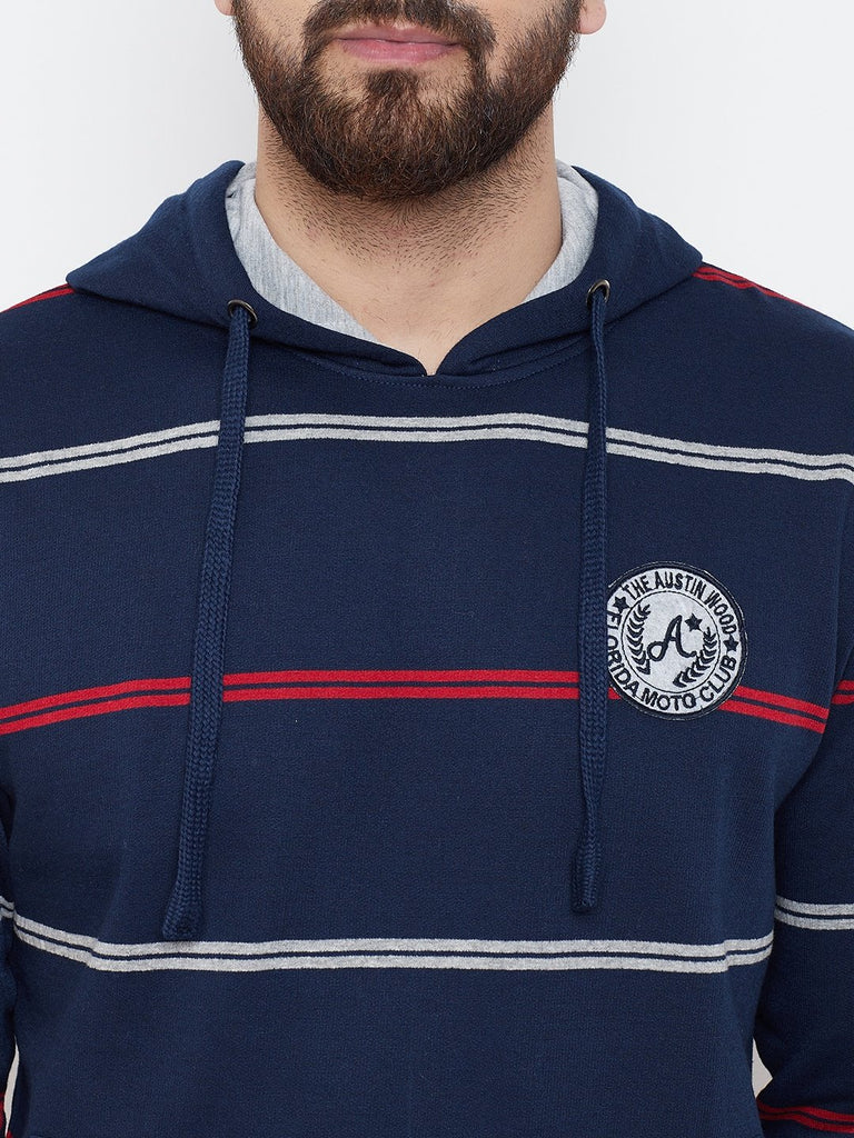 Men's Navy Blue Striper Hooded Sweatshirt