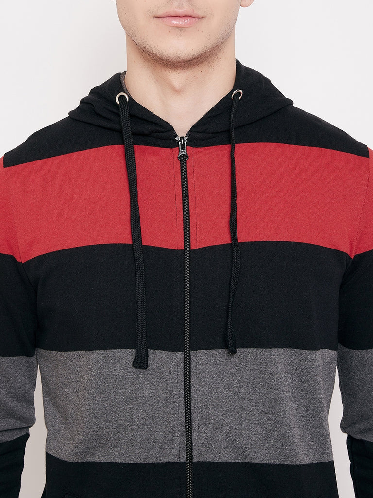 Austin Wood Men's Multi Full Sleeves Hooded Colorblocked Sweatshirt