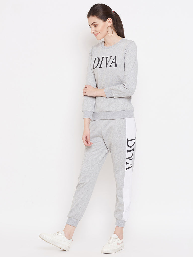 Austin Wood Women's Grey Full Sleeves Printed Track Suit