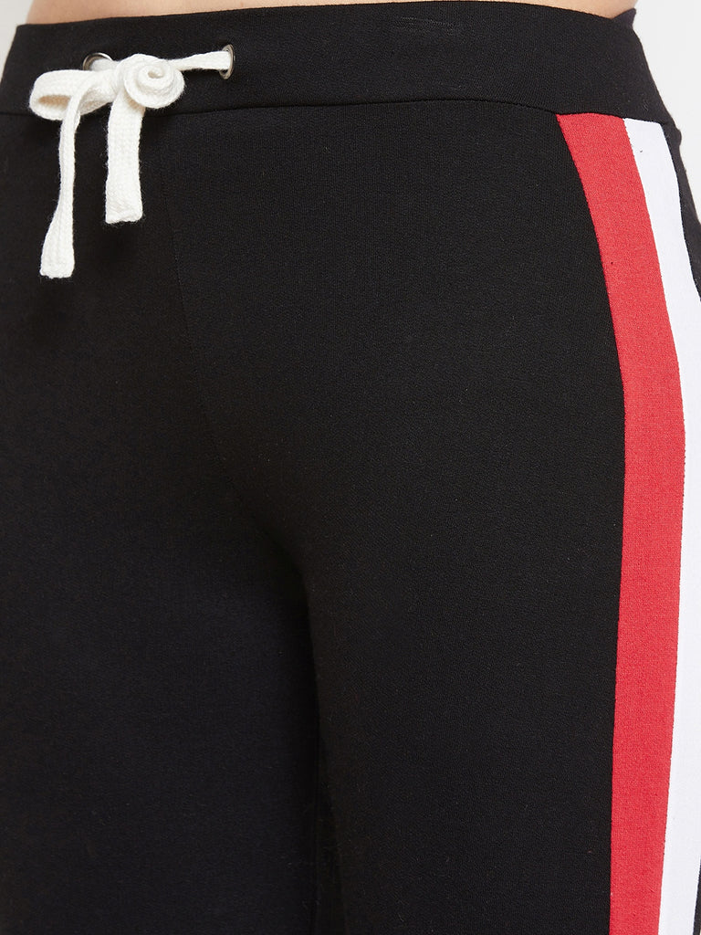 Austin Wood Women'sBlack Half Sleeves Colorblocked Round Neck Tracksuit