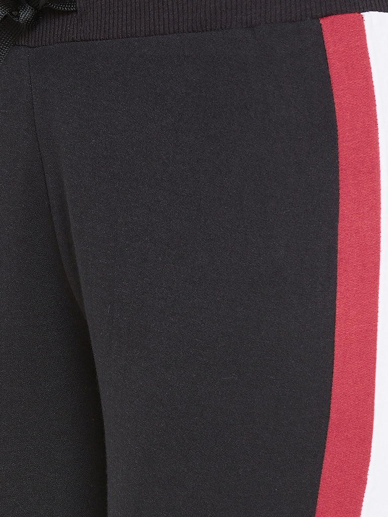 Austin Wood Women'sRed Full Sleeves Colorblocked Hooded Tracksuit