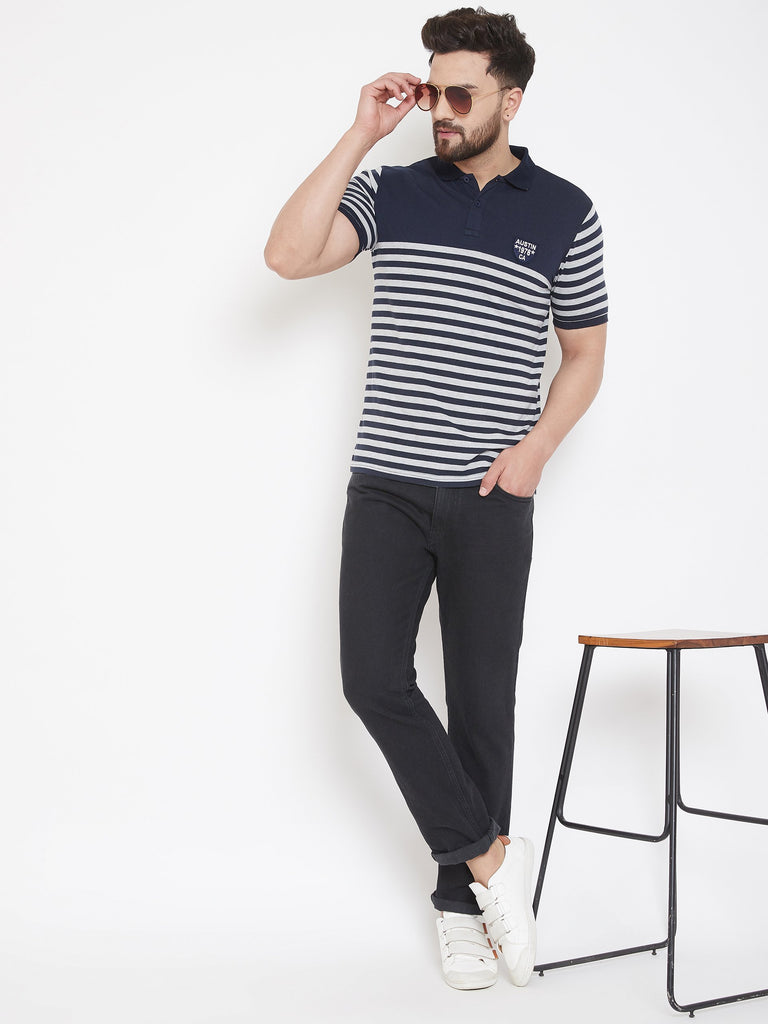 Navy blue Striper Polo T-shirt