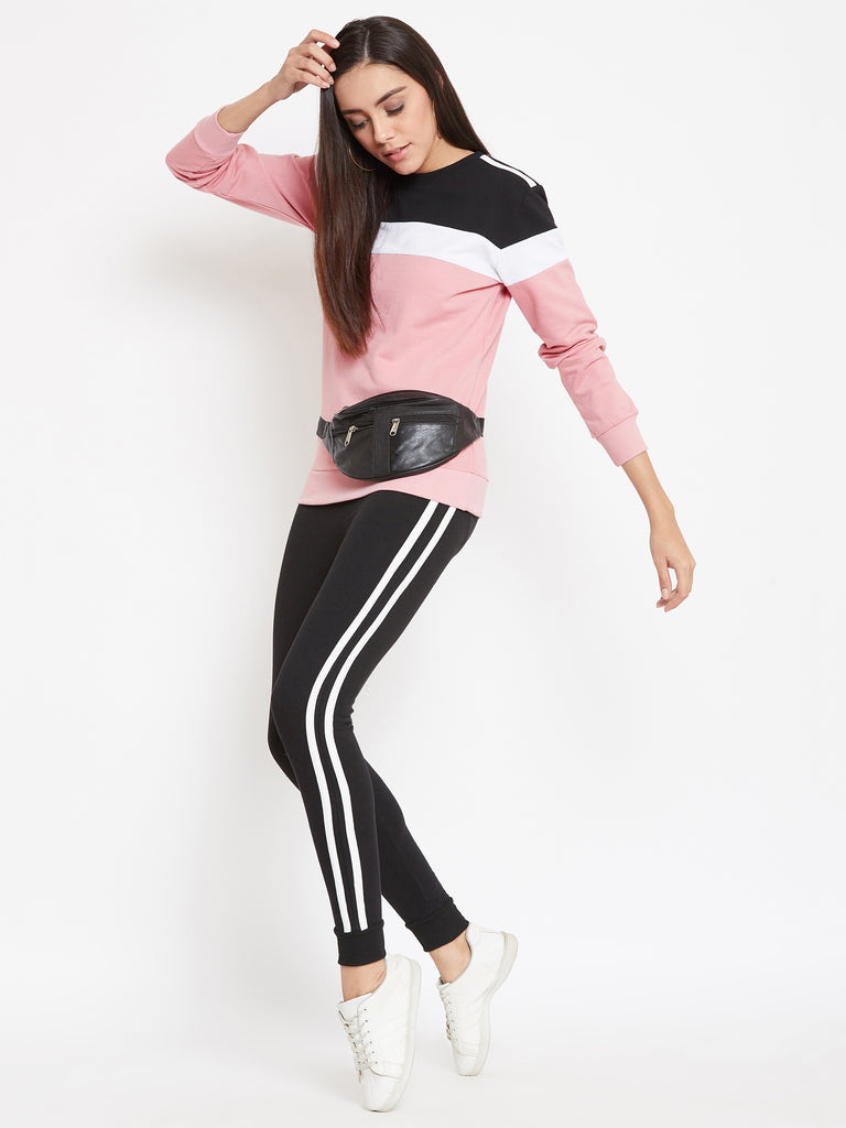 Austin Wood Women'sPink Full Sleeves Colorblocked Round Neck Tracksuit