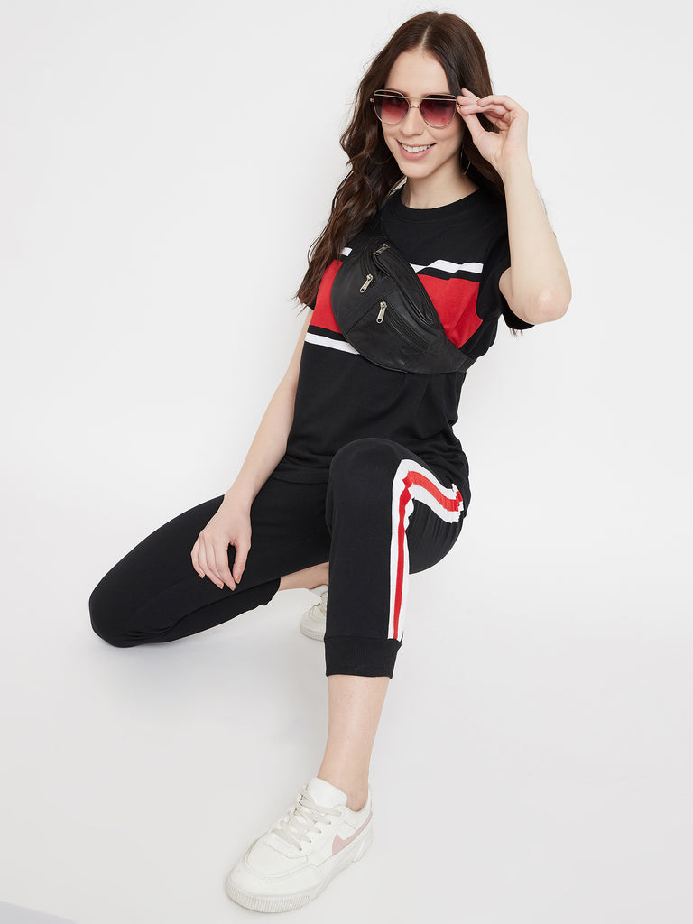 Austin Wood Women's Black Colorblocked Half Sleeves Round Neck Tracksuit