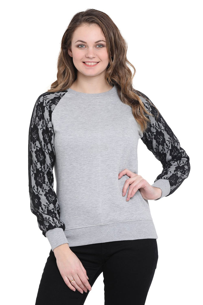 Women's Grey Solid Long Sleeves Round Neck Sweatshirt