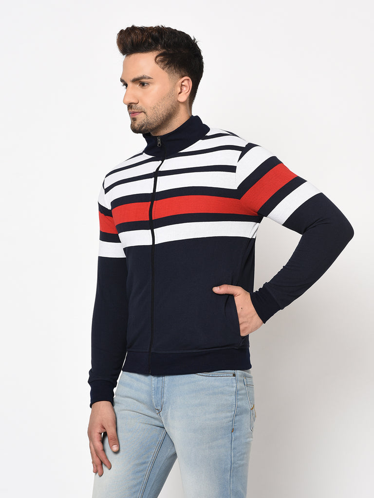Austin wood Mens Navy Blue Long Sleeves High Neck Striped Sweatshirt
