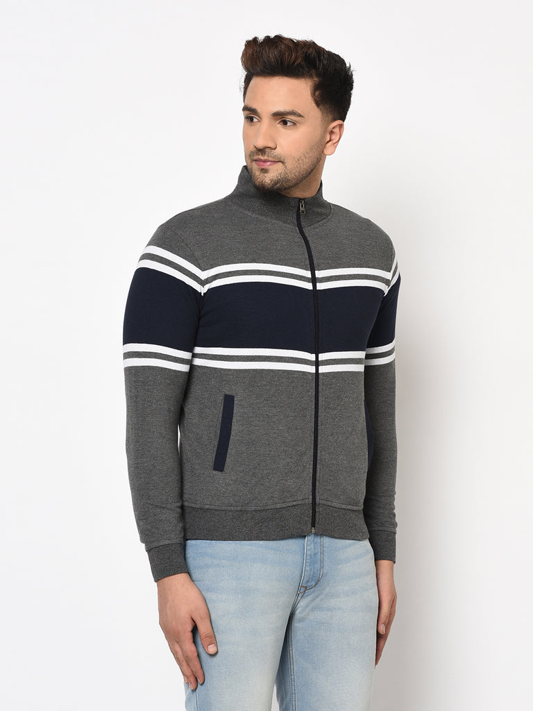 Austin wood Mens Multi Long Sleeves High Neck Striped Sweatshirt