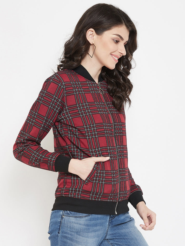 Austin Wood Women's Maroon Full Sleeves Checked Bomber Neck Sweatshirt With Zipper