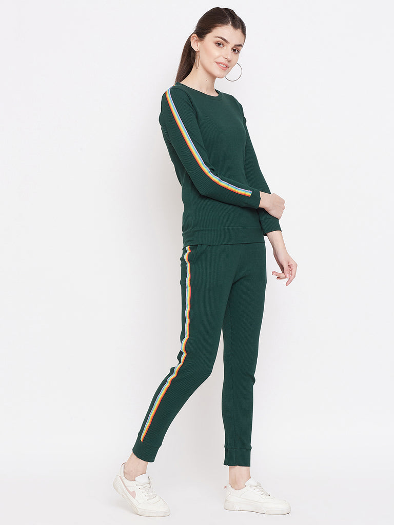 Austin Wood Women's Green Full Sleeves Solid Track Suit