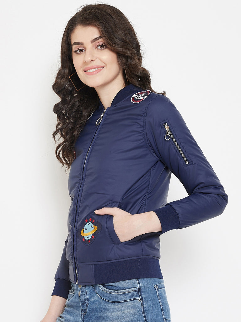 Austin Wood Women's Navy Blue Full Sleeves Solid Bomber Neck Sweatshirt With Embroidery