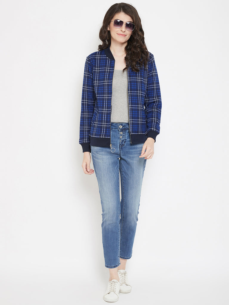 Austin Wood Women's Blue Full Sleeves Checked Bomber Neck Sweatshirt With Zipper