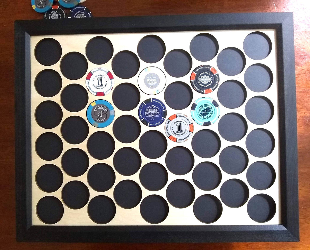 Custom Poker Chip Frame Display 11x14 SHIPS FREE Laser-engraved for 50 Harley-Davidson or casino chips Father's Day Christmas Gift