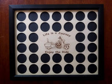 Load image into Gallery viewer, Poker Chip Frame Display Engraved insert fits 36 Harley-Davidson or Casino chips With frame option Bagger Life Is a Journey