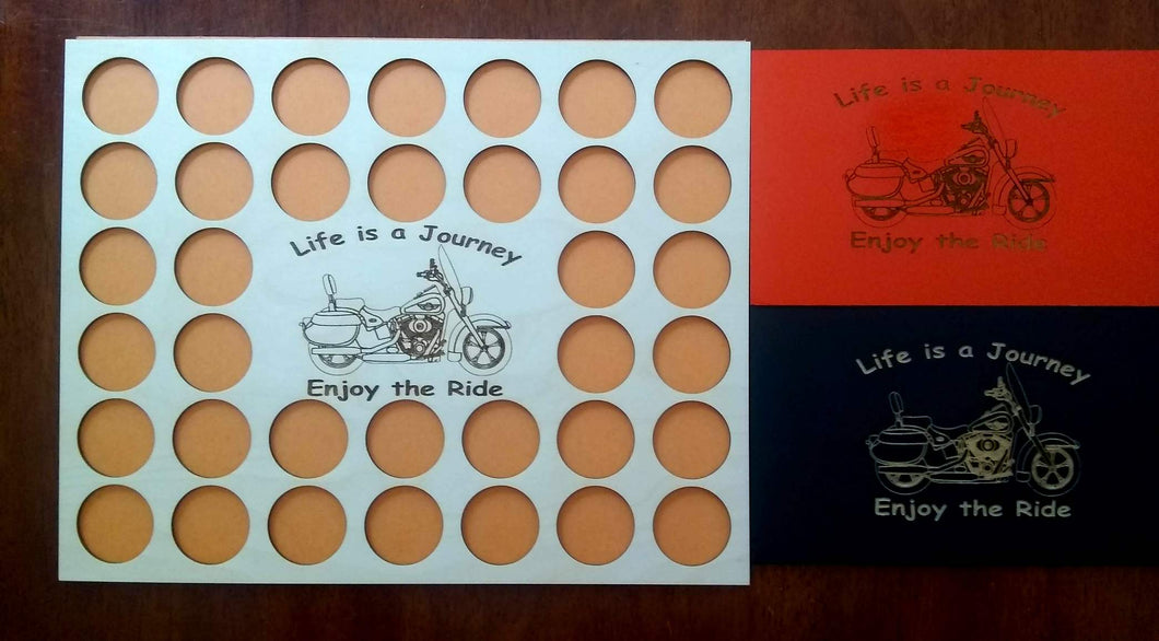 Poker Chip Frame Display Engraved insert fits 36 Harley-Davidson or Casino chips With frame option Bagger Life Is a Journey