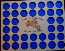 Load image into Gallery viewer, Poker Chip Frame Display Insert Fits 36 Harley-Davidson or Casino chips Life is A Journey 11x14 natural birch chip holder #21 Frame Option