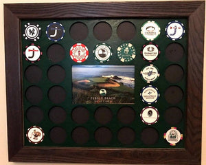 Custom Poker Chip Frame Display Insert Fits 36 Golf Ball Markers Harley-Davidson or Casino chips 11x14 insert with frame options