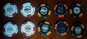 Harley-Davidson Chips Collector's Poker Chips Cherokee Durham Asheville Pigeon Forge