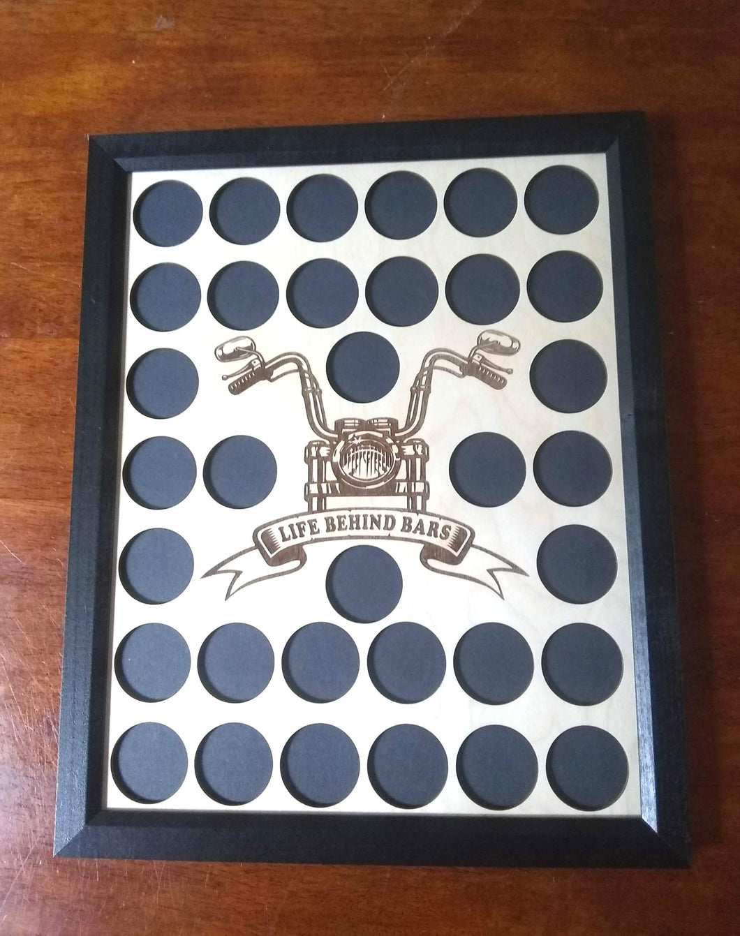 Custom Poker Chip Frame Display with Life Behind Bars Vertical Engraved Handlebars Insert For 34 Harley-Davidson or Casino chips 34-61920B